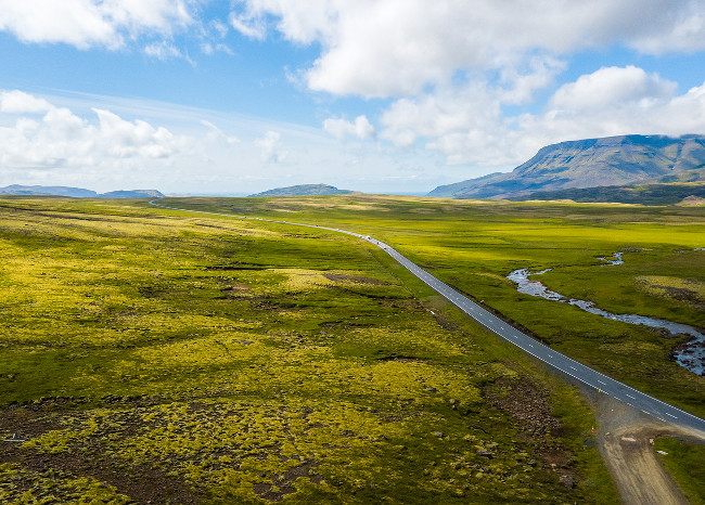 Aerial view of landscape on the road in Iceland