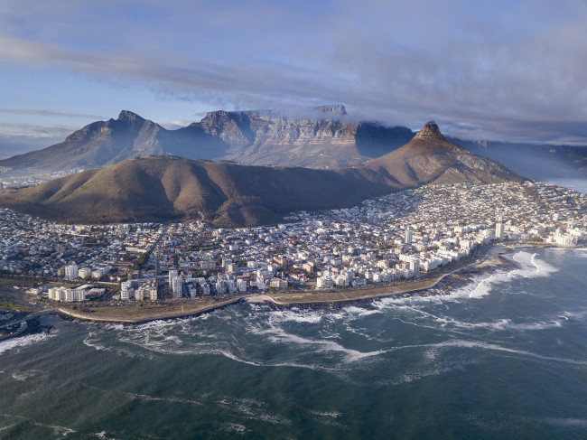Aerial view over Cape Town, South Africa with Table Mountain