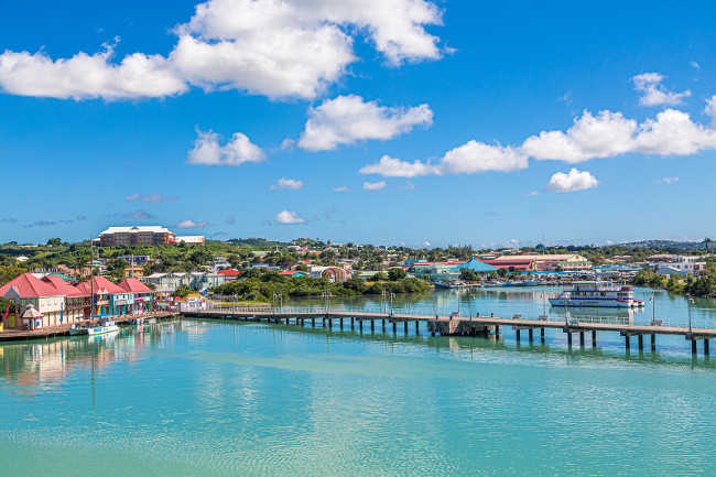 ANTIGUA, WEST INDIES - December 7, 2016: The economy of Antigua is almost entirely based on tourism. It is a major cruise destination, resort location and a mecca for boating and water sports.