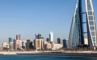 MANAMA, BAHRAIN - NOV 14: World Trade Center skyscraper and skyline of Manama City. November 14, 2015 in Manama, Kingdom of Bahrain