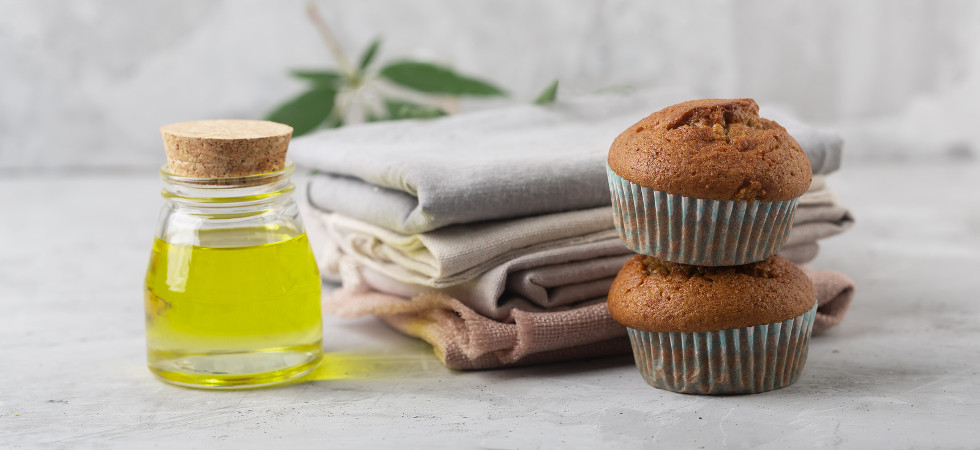 Different products from marijuana. Baking muffins from cannabis, natural CDB fabric and oil