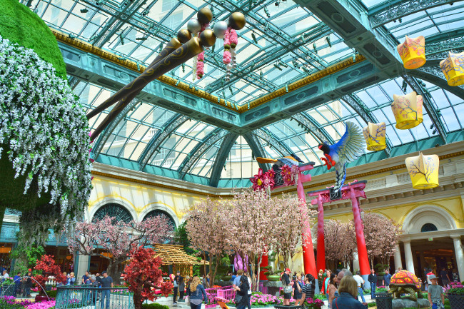 LAS VEGAS, USA - MARCH 20, 2018 : Bellagio Conservatory and Botanical Garden, spring display.