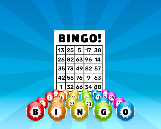 lottery bingo game, balls with numbers and a lottery ticket, on a colored background. Vectors illustration