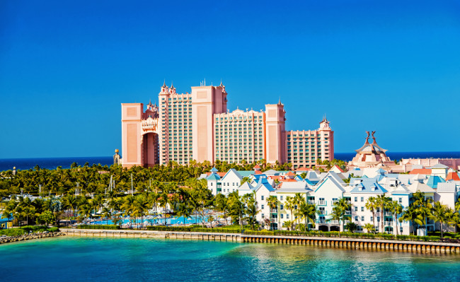 NASSAU, BAHAMAS - March 9. 2016: The Atlantis Paradise Island resort, located in the Bahamas . The resort cost 800 million to bring to life the myth and legend of the lost city of Atlantis.