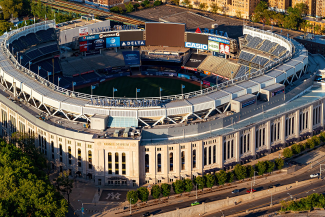 NEW YORK - JULY 02, 2016: Yankee Stadium, aerial view in the Bronx, NY. Home of the Yankees