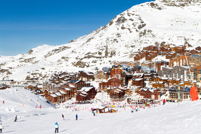View of the Val Thorens ski resort of Three Valleys France. Mountains covered with snow