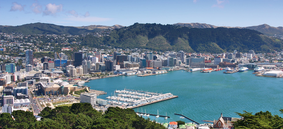 Wellington New Zealand - city aerial view of marina and downtown skyscrapers.