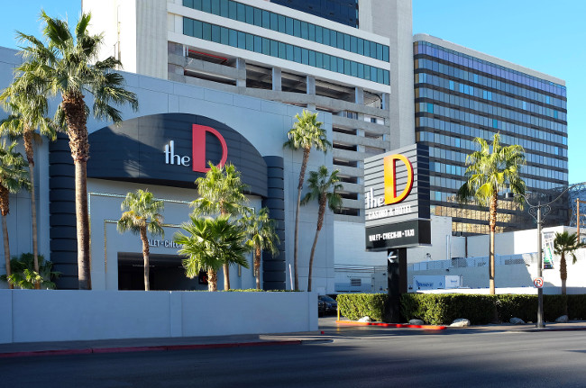 LAS VEGAS - DECEMBER 7 2017: The D Las Vegas Casino Hotel. The D is a 34-story 638-room hotel and casino in Downtown Las Vegas Nevada in the Fremont Street Experience.