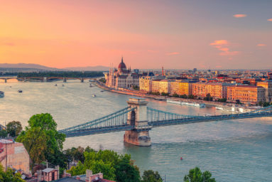 Budapest, Hungary. Panoramic aerial cityscape image of Budapest panorama with Szechenyi Chain Bridge and parliament building during summer sunset.