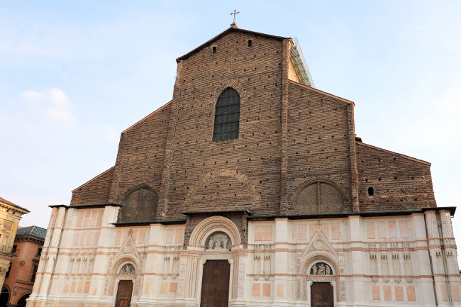 Facade of San Petronio Basilica, Bologna landmark, Italy.