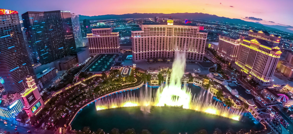Las Vegas, Nevada, United States - September 24, 2018: Bellagio Casino dancing fountains night show from Eiffel Tower of The Paris luxury Hotel Casino in Las Vegas Strip.