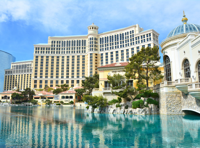 LAS VEGAS, USA - MARCH 21, 2018 : Fountains of Bellagio - Bellagio Hotel & Casino.