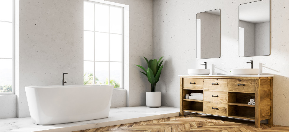 Loft white wall luxury bathroom corner with a wooden floor, a white bathtub, and a double vessel sink. 3d rendering mock up