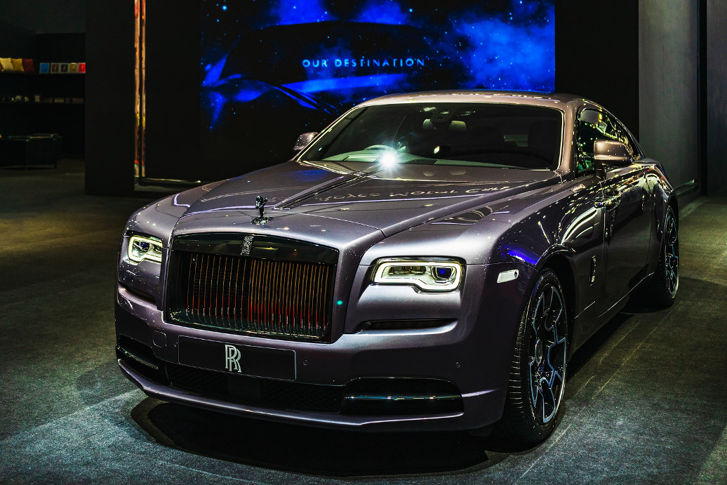 Bangkok, Thailand - March 31, 2019:  Luxury car manufactured by Rolls-Royce Motor Cars on display at The Bangkok International Motor Show 2019 at Impact Arena, Maung Thong Thanee, Thailand