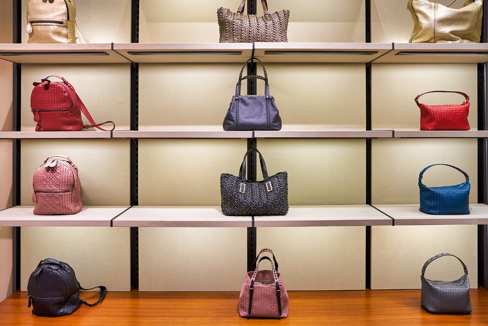 HONG KONG, CHINA - CIRCA JANUARY, 2019: bags on display at Bottega Veneta store in Elements shopping mall. Bottega Veneta is an Italian luxury goods and high fashion brand.
