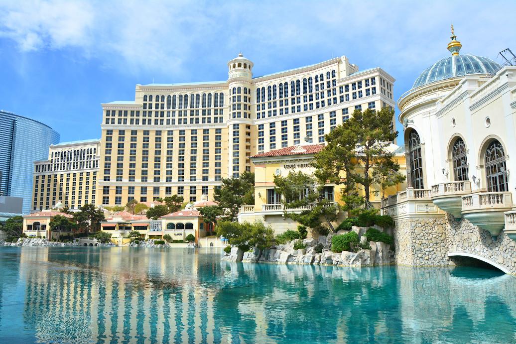 LAS VEGAS, USA - MARCH 21, 2018 : Fountains of Bellagio - Bellagio Hotel & Casino.