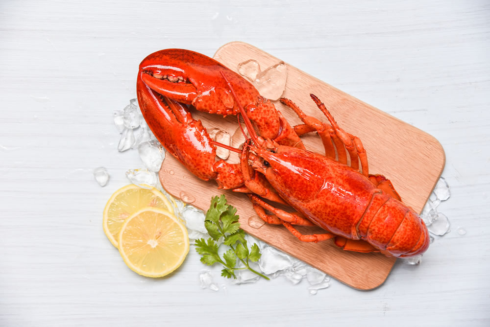 bigstock-Lobster-Seafood-With-Ice-On-Wo-303454300