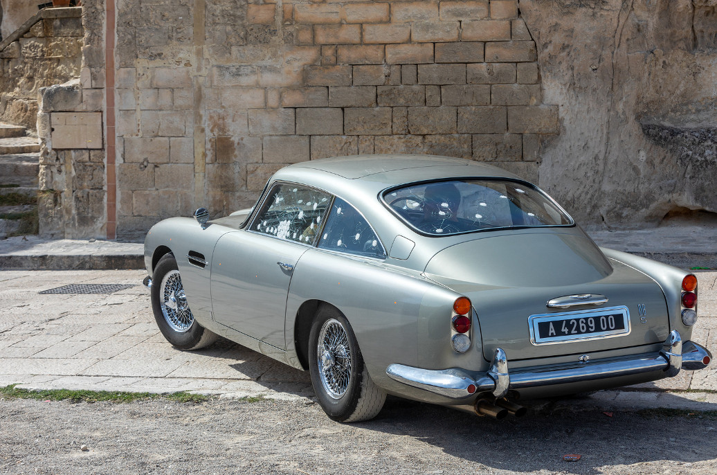 Matera, Italy - September 15, 2019: the Aston Martin DB5 used on the set of the latest James Bond movie No time to die in Matera,  Italy.