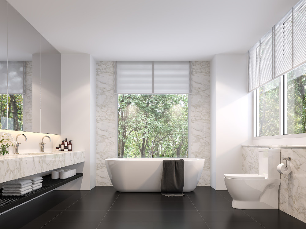 Luxurious Bathroom With Natural Views 3d Render