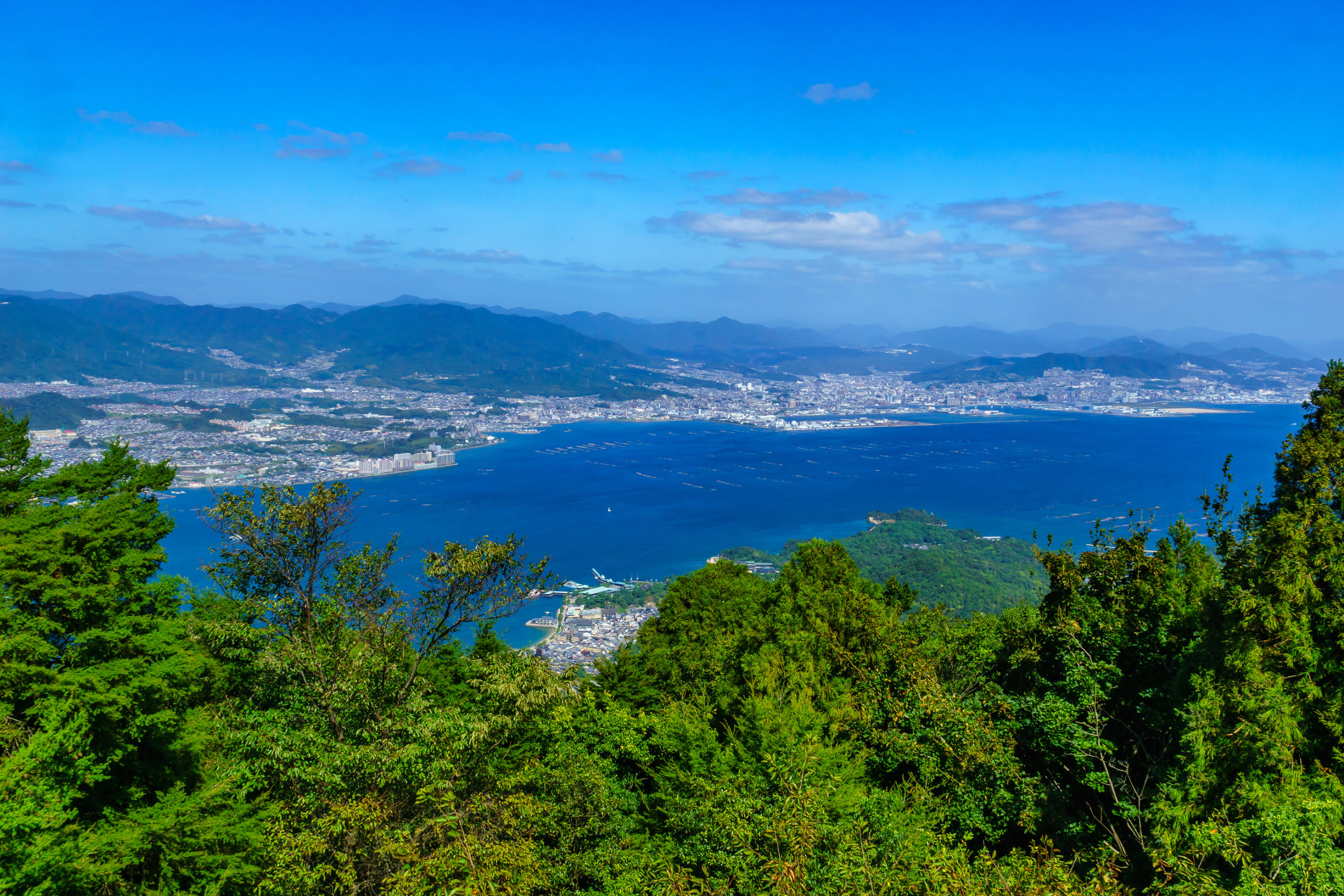 View of landscape from the top of Mount Misen in Miyajima