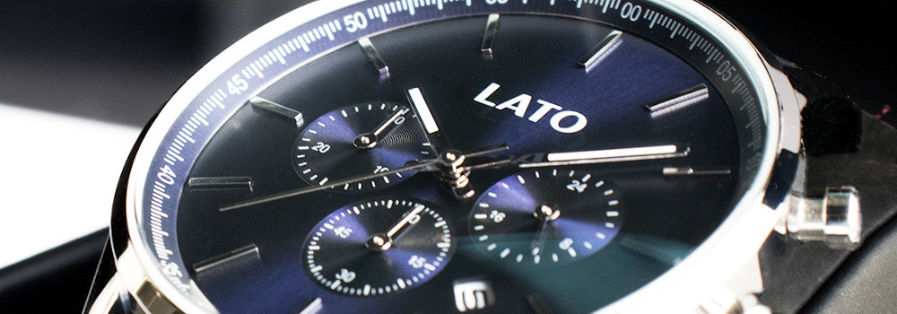 lato impero blue chrono black leather