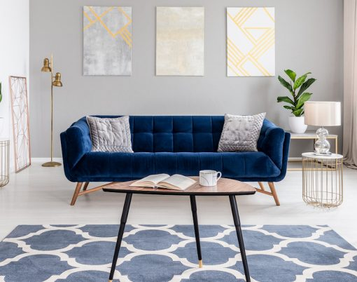 Open Space Living Room Interior With Modern Furniture Of A Navy