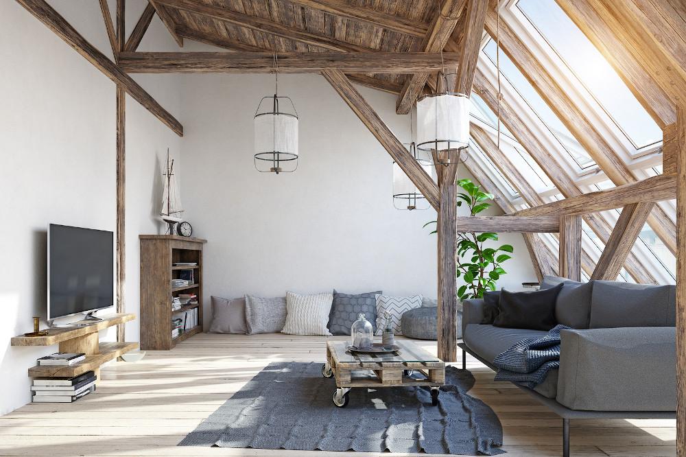 modern attic living room interior design. 3d illustration concep