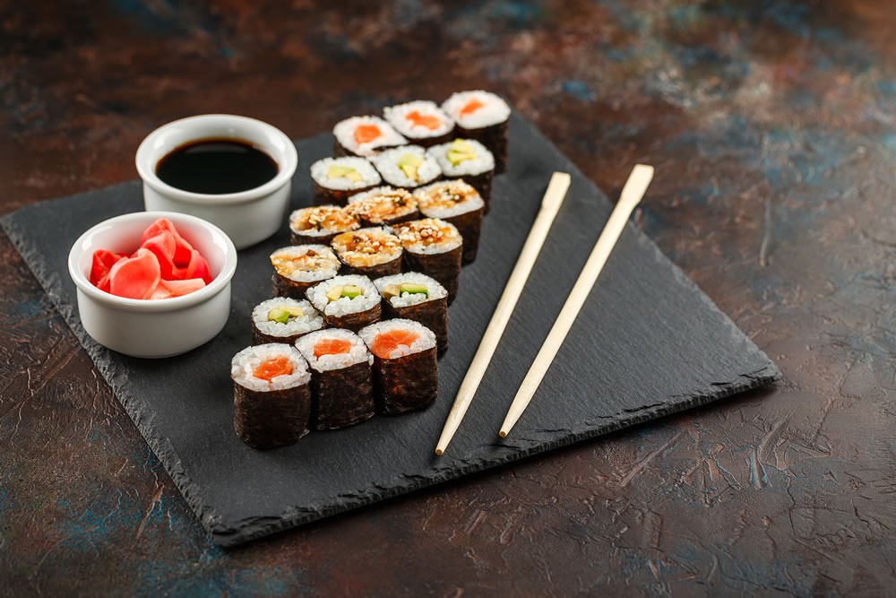 bigstock-Japanese-Sushi-Rolls-Served-On-295514362