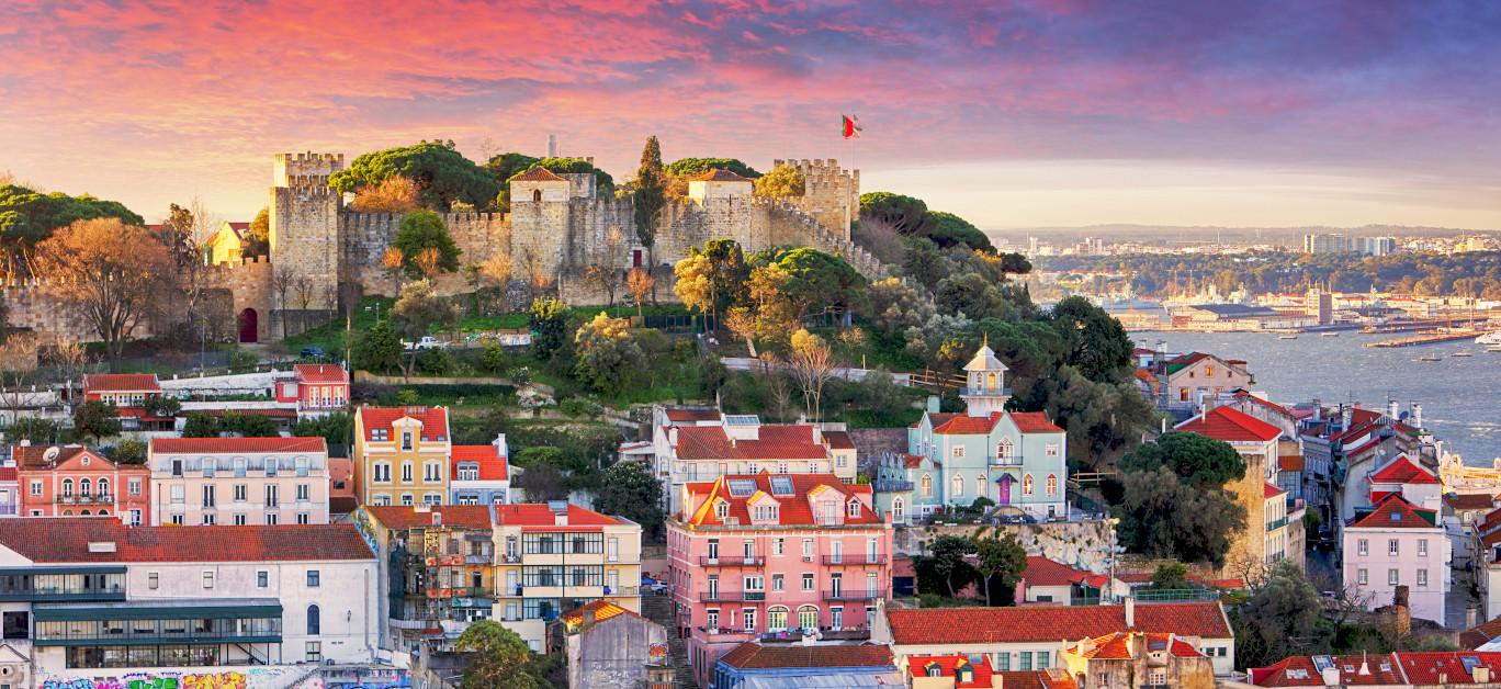 Lisbon Portugal skyline with Sao Jorge Castle