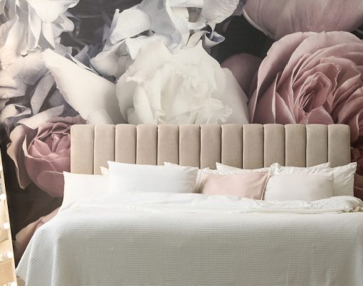 Beautiful Room Interior With Large Bed, Mirror And Floral Patter