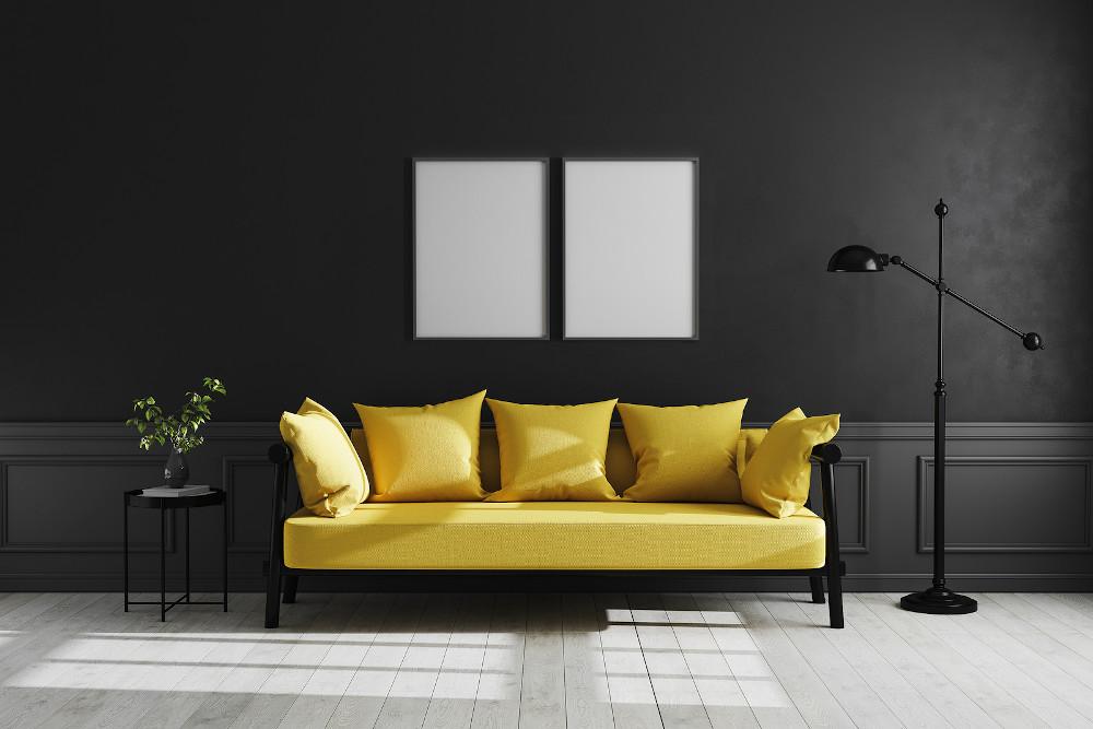Mock Up Poster Frame In Luxury Dark Living Room Interior Backgro