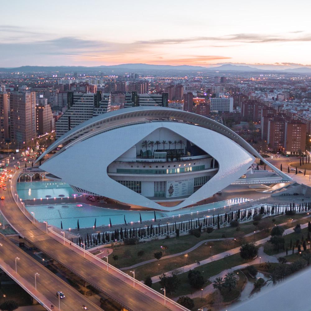 opera house at sunset