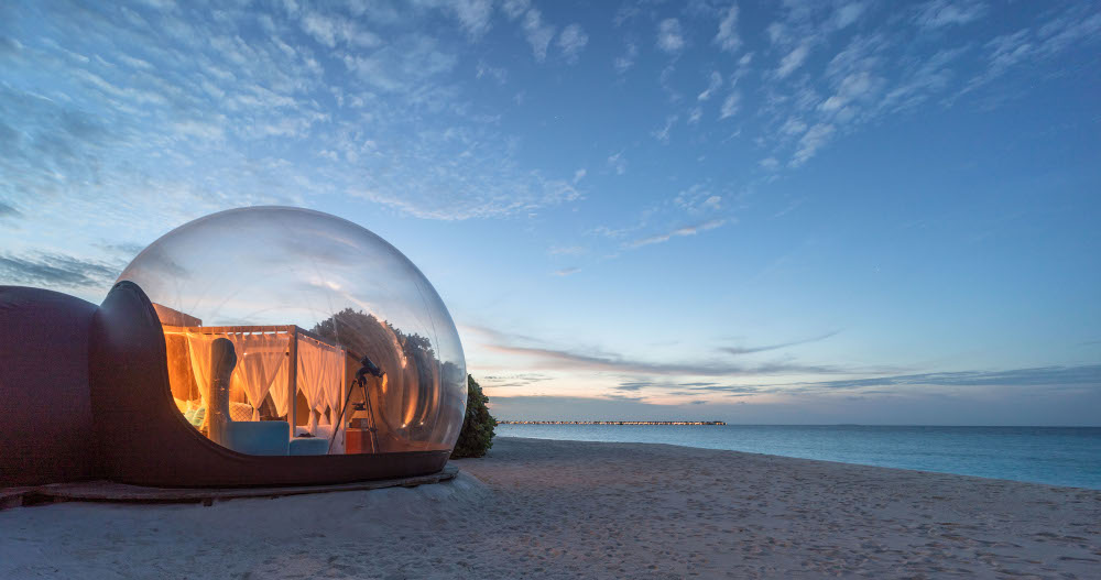Beach Bubble and view of the Overwater Villas - Seaside Finolhu