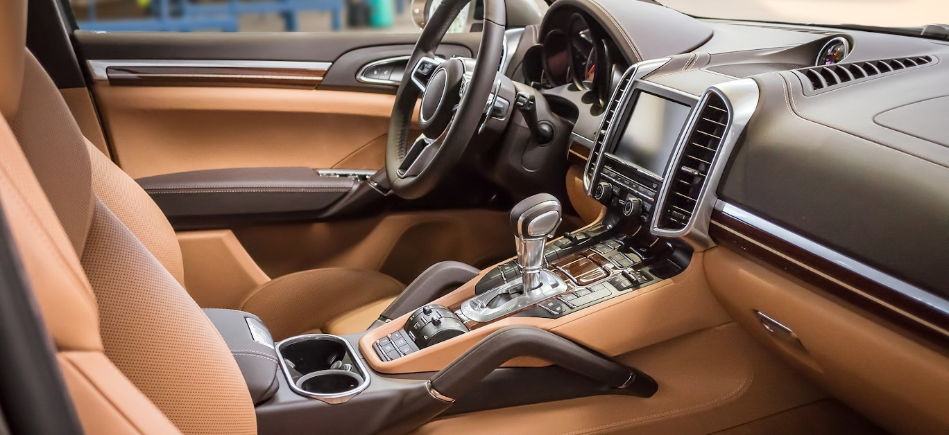 Luxury and modern brown car interior. Inside car.