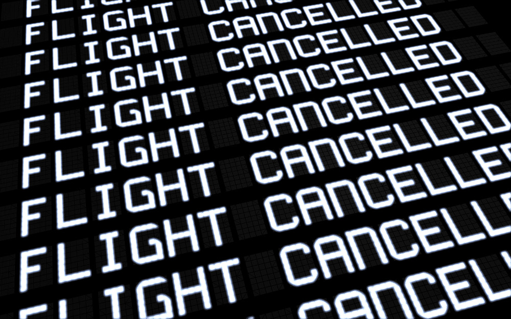 Airport terminal departures board showing cancelled flights because of strike. Business travel unforeseen concept 3d rendering.