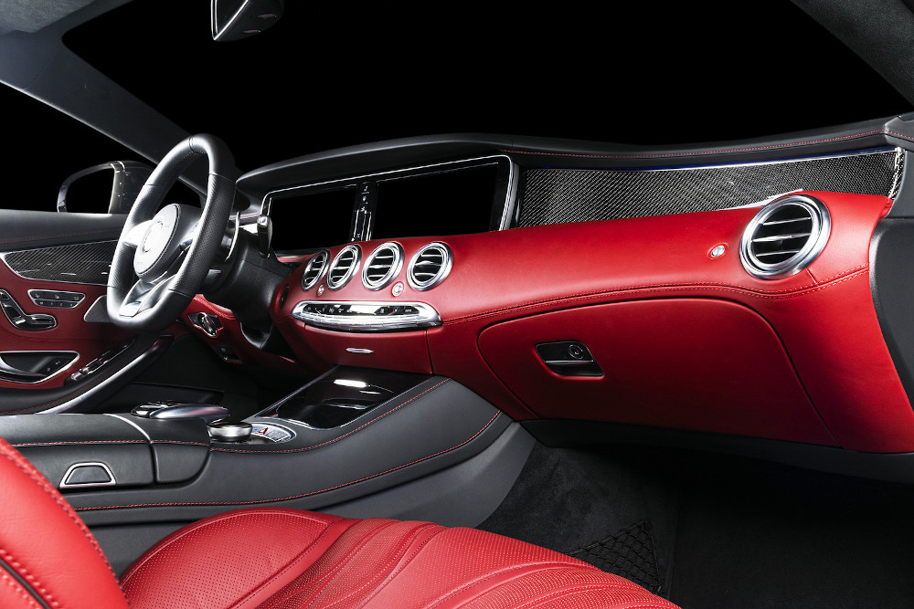 Luxury and modern brown car interior. Inside car.