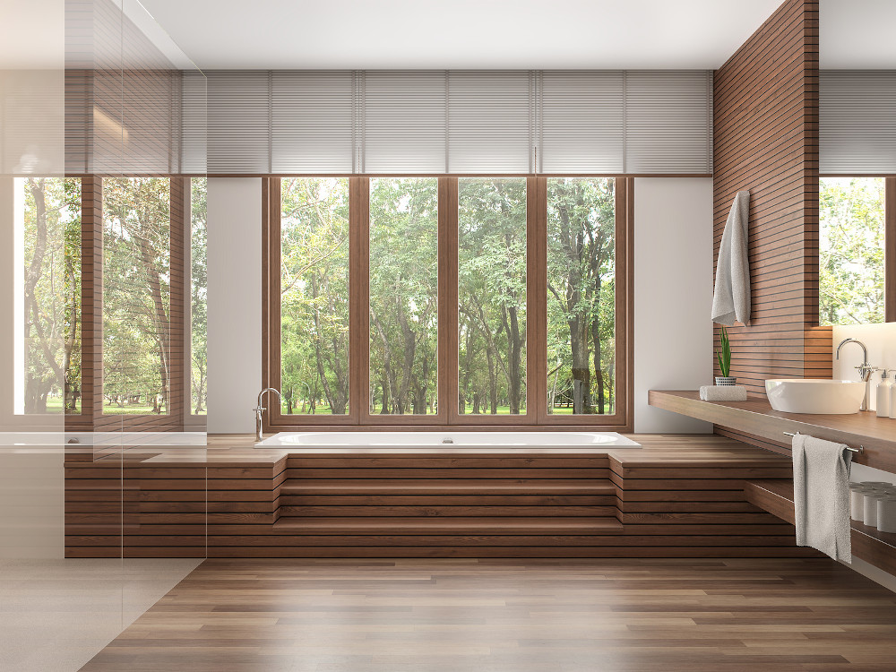 Wood Bathroom Modern Contemporary Style 3d Render.decorate Wall