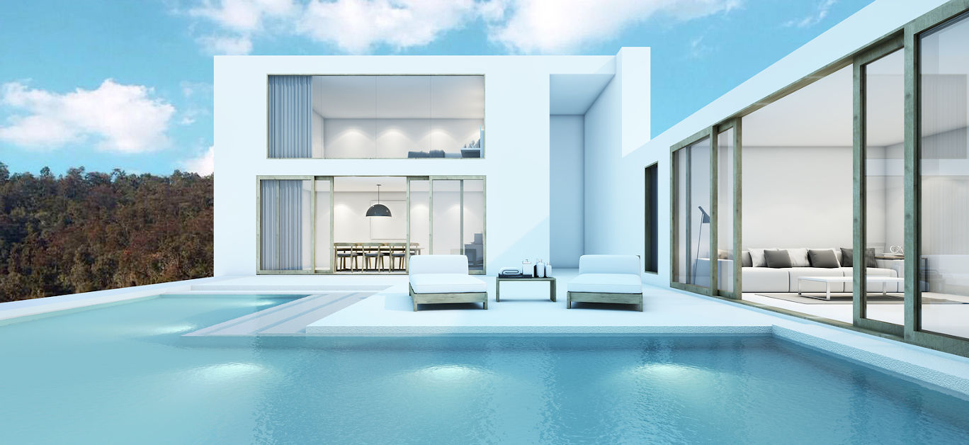 House with pool design modern - 3D render