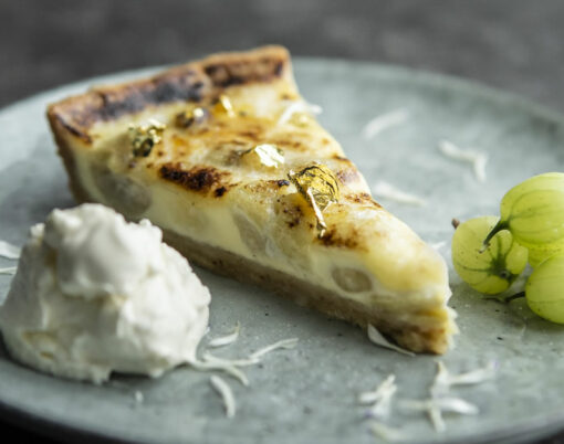 gooseberry and ederflower tart