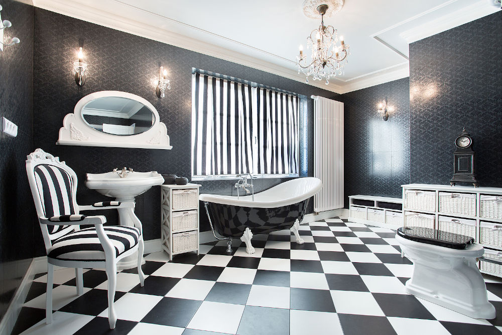 Interior of white and black modern bathroom