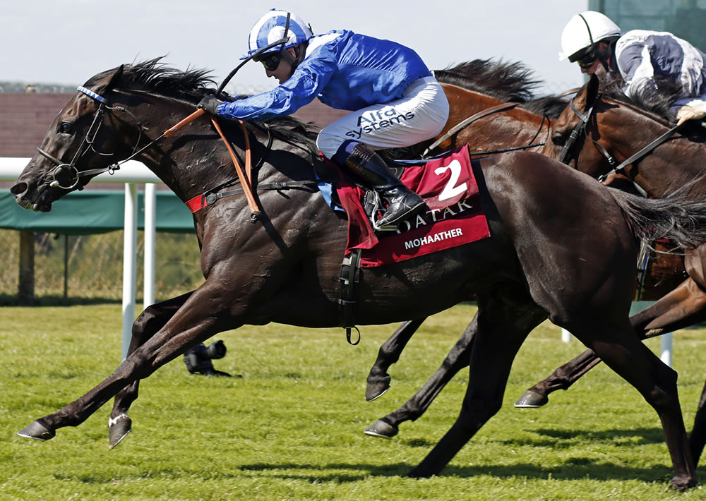 Mohaather winning the Group 1 Sussex Stakes at Glorious Goodwood this year (credit Racing Fotos)