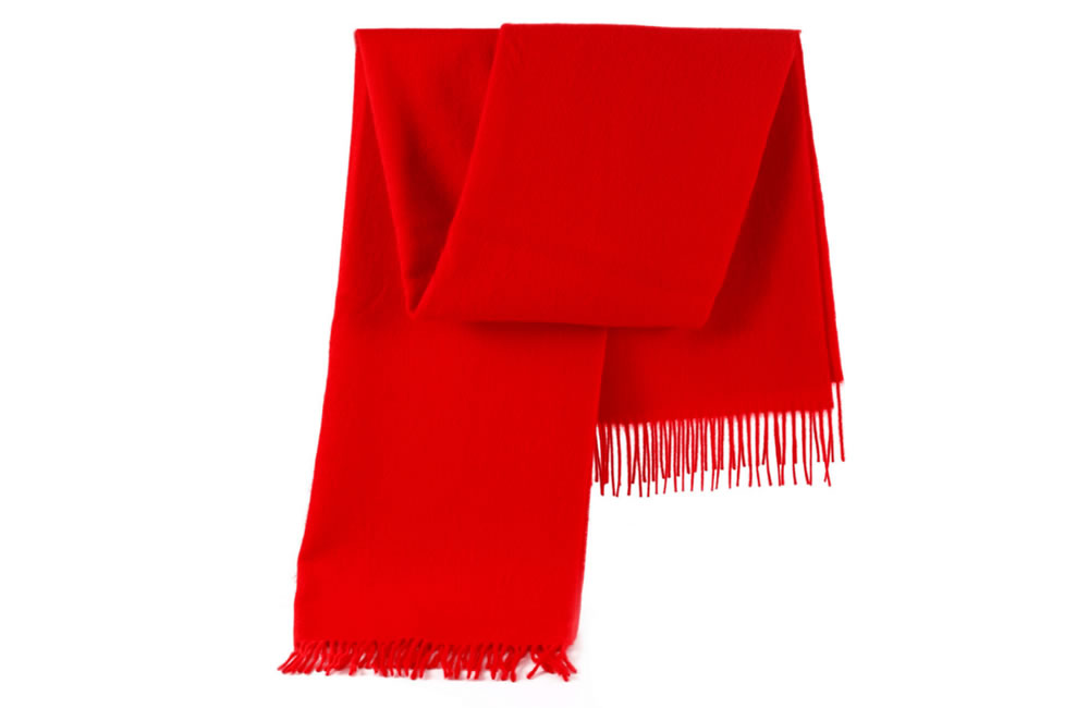 Plain Red 100% Pure Lambswool Blanket