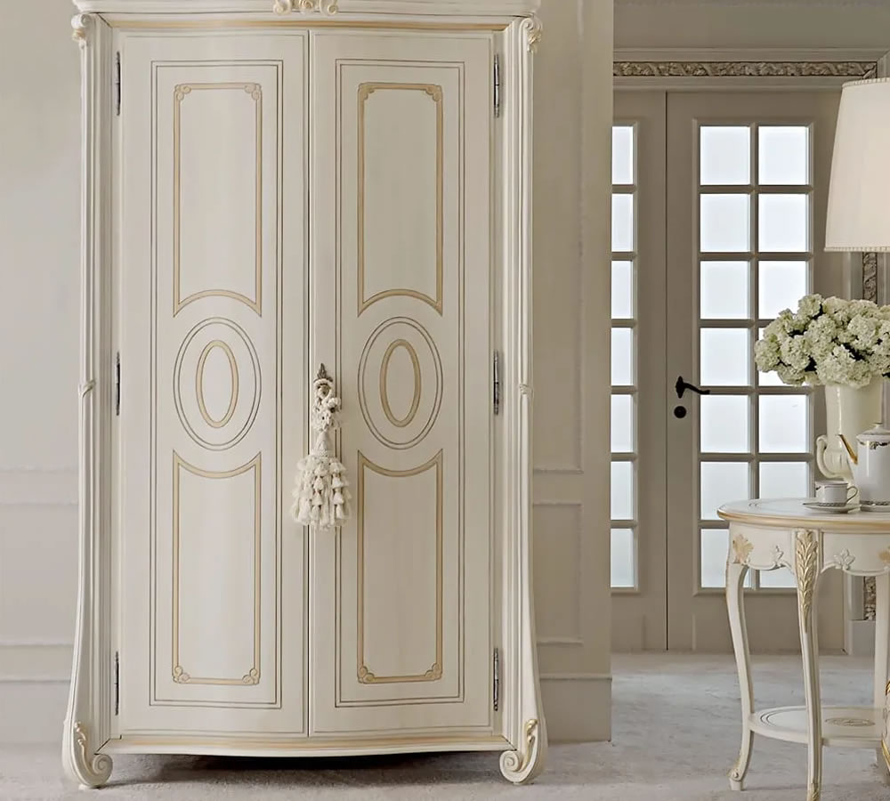 Luxury Ivory Italian Two-Door Wardrobe