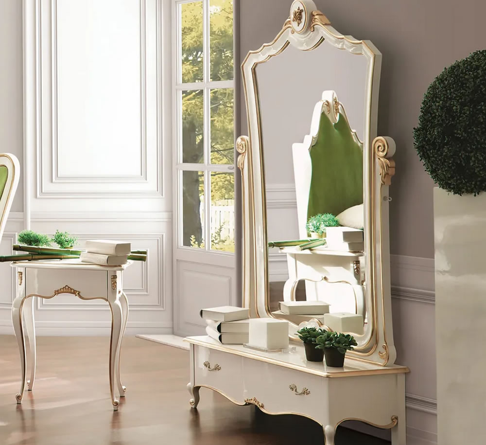 White Louis Reproduction Bedroom Dressing Mirror