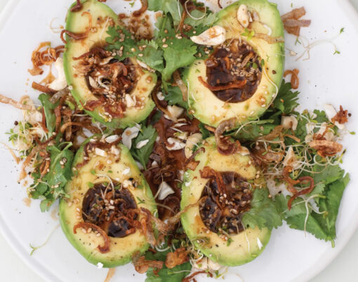 Avocado ponzu salad with crispy onions