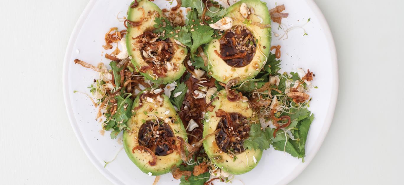 Avocado ponzu salad with crispy onions