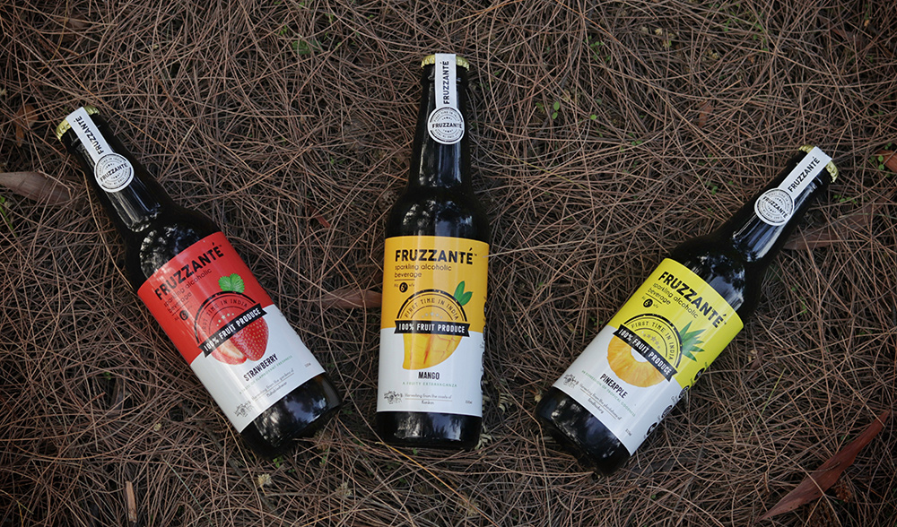 Fruzzanté Sparkling Fruit Wine available in pineapple, strawberry, starfruit, chikoo and mango