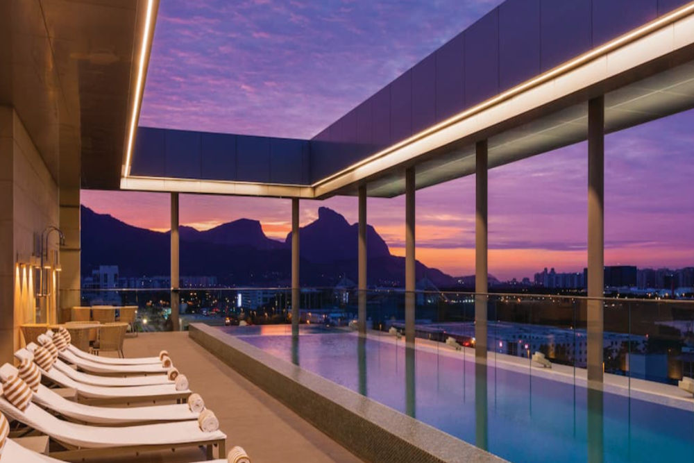 Rooftop infinity pool at the Hilton Barra in Rio