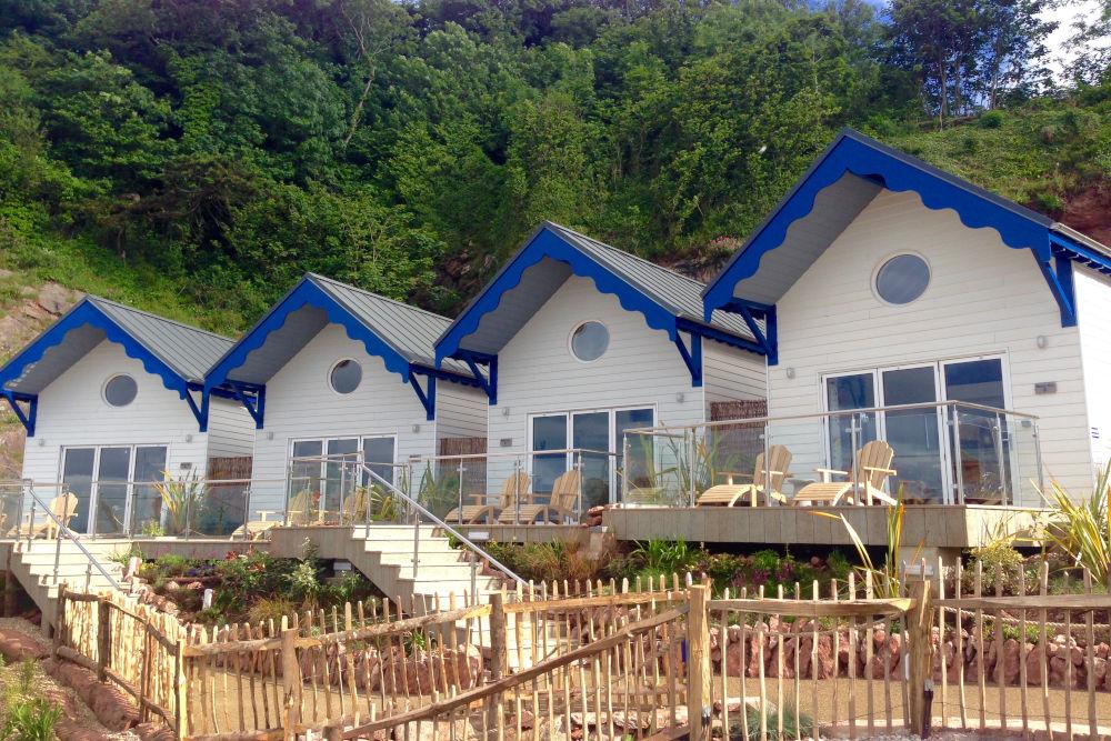 Beach huts at the Cary Arms & Spa