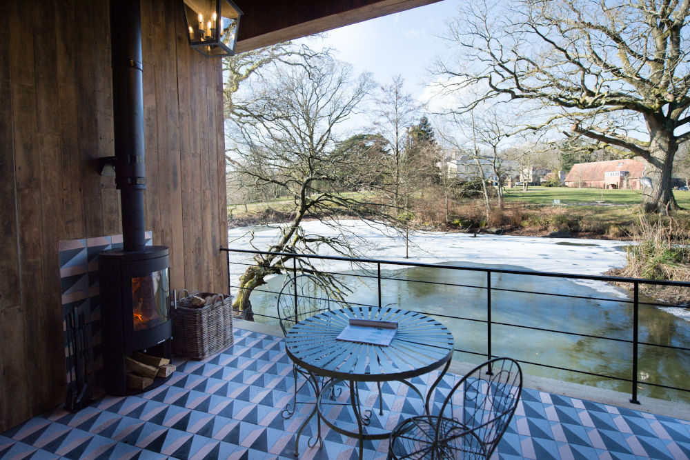 Spacious terrace in the cabin at Limewood Hotel